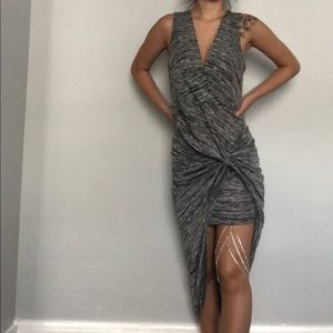 Iris grey wrapped knot maxi dress size large